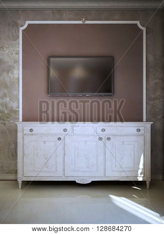 Modern And art deco TV Console Design. White colored console. Wall with molding. 3D render