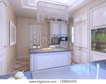 Elegant avantgarde kitchen with island. Diagonal tile flooring patterned cabinets. White furniture with molding. 3D render