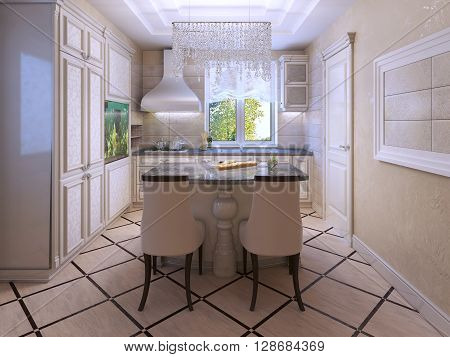 Ecru kitchen with tiled floor and cream soft colors. Crystal decoration. Walls of textured plaster. 3D render