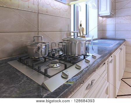 Work area at modern kitchen. Light grey gas stove with pan made of stainless steel. Granite countertop and cream tile backsplash. 3D render