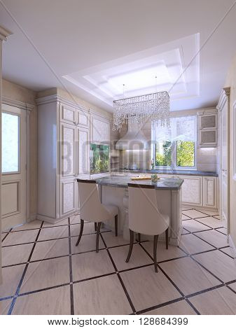 Modern bright clean kitchen interior with stainless steel applianes. 3D render