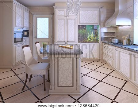 An interior of a rich house kitchen. Using tile in kitchen interior. Aquarium as decor in modern apartments. 3D render