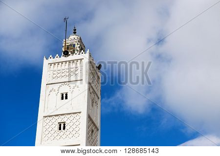 Minaret in the town of Chefchaouen in Morocco