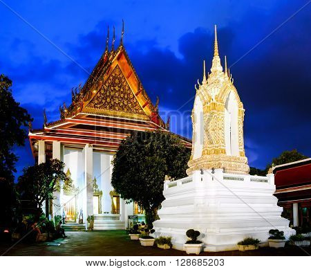 Wat Pho Temple in night Bangkok Thailand. Wat Pho known also as the Temple of the Reclining Buddha.