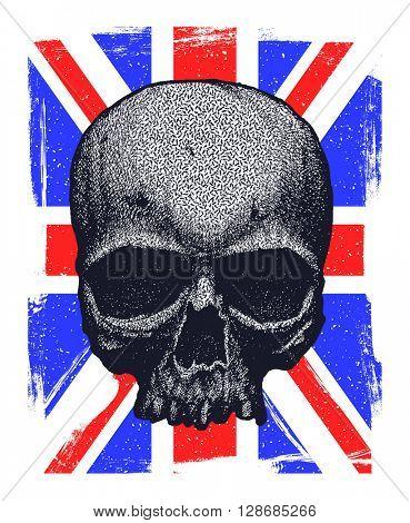 Skull and Flag Great Britain. Hand drawn. Jpeg version.