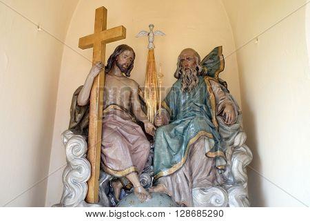 STITAR, CROATIA - AUGUST 27: Holy Trinity in the chapel in the village Stitar, Croatia on August 27, 2015