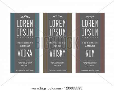 liquor bottle label designs for vodka, whisky whiskey and rum
