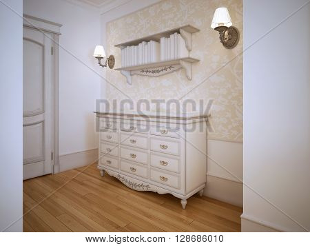 Classic hallway with closet door. Light wood flooring white walls with decorative wallpaper molding. Whie dresser book shelwes and sconces. 3D render
