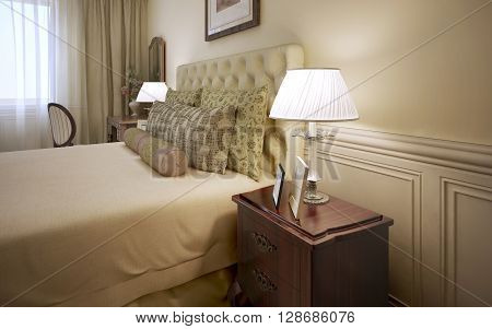 Luxury hotel room interior. Dressed bed with pillows and mahogany bedside table with white shade table lamp. 3D render