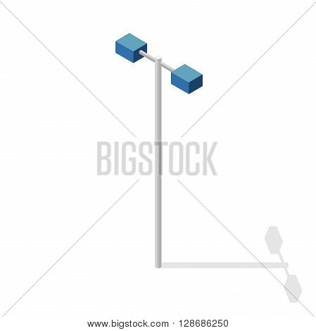 Street light, info graphic. Isometric blue lamp on white background. Street minimalistic equipment. Pictogram of road lamp with details. Flatten isolated master vector icon. Cartography map symbol.