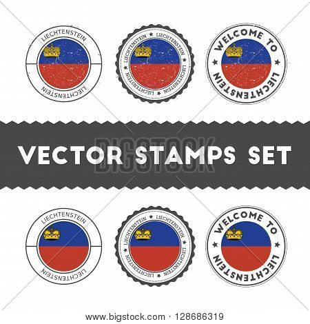 Liechtensteiner Flag Rubber Stamps Set. National Flags Grunge Stamps. Country Round Badges Collectio
