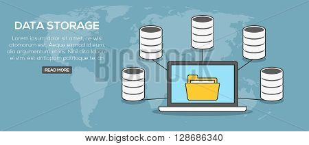 Data storage concept banner. Laptop communication with servers on word map background