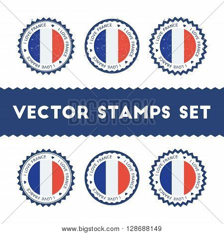 I Love France Vector Stamps Set. Retro Patriotic Country Flag Badges. National Flags Vintage Round S