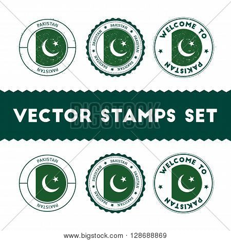 Pakistani Flag Rubber Stamps Set. National Flags Grunge Stamps. Country Round Badges Collection.