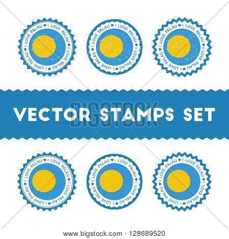 I Love Palau Vector Stamps Set. Retro Patriotic Country Flag Badges. National Flags Vintage Round Si