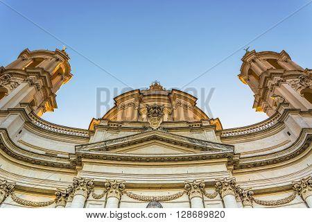 bottom view of the baroque facade of saint Agnese church in Rome