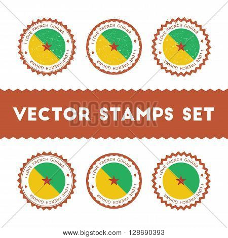 I Love French Guiana Vector Stamps Set. Retro Patriotic Country Flag Badges. National Flags Vintage