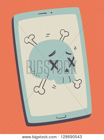 Vector illustration of a cartoon skull with dead eyes inside a cell phone screen.