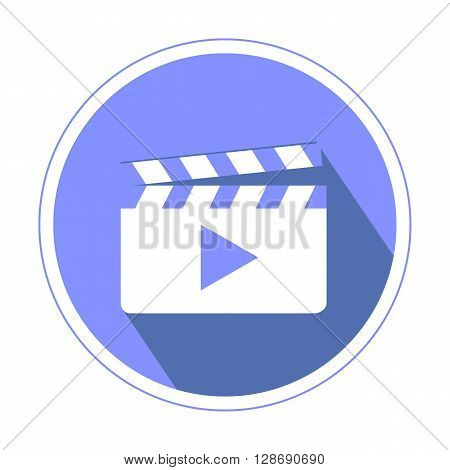 Video or Footage library icon in violette color isolated on white background flat design