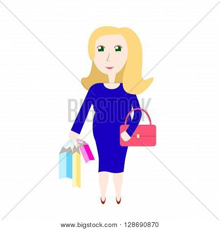 Pregnant woman shopping, vector illustration pregnancy fashion shopping future mom