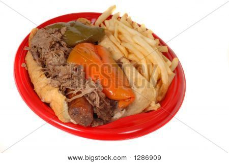 Italian Beef And Sausage Combo With Fries