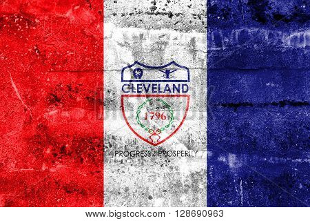 Flag Of Cleveland, Ohio, Painted On Dirty Wall. Vintage And Old Look.