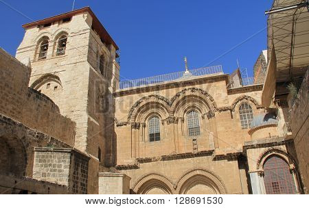 Main entrance of the Church of the Holy Sepulcher within the Christian Quarter in the Old City of Jerusalem Israel with copy space.  Also known as the Muristan.