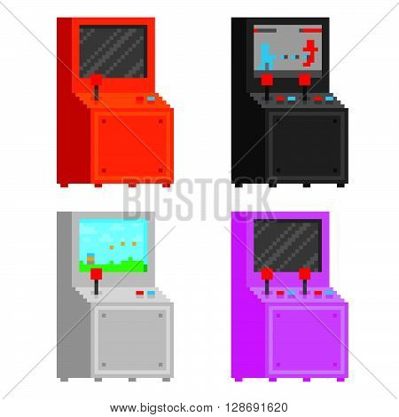 Pixel art style arcade game cabinet isolated vector set