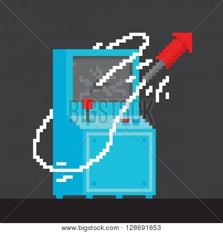 Pixel art style arcade game cabinet with firework vector
