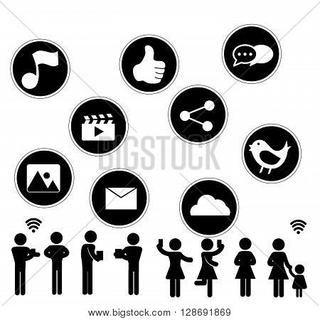 Social Network flat icon design with people sillouhette on white background