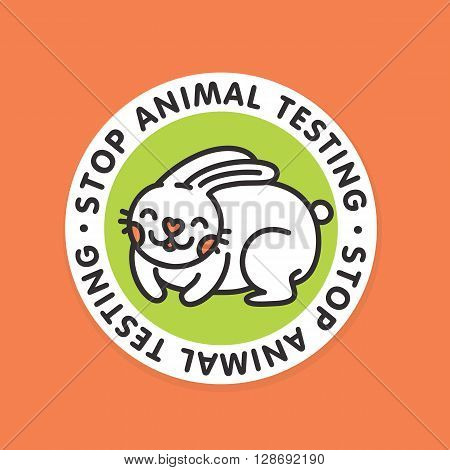 Stop animal testing rabbit vector sticker badge