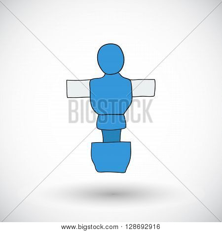 Table football player sketch. Hand-drawn cartoon icon of foosball player. Doodle drawing. Vector illustration.