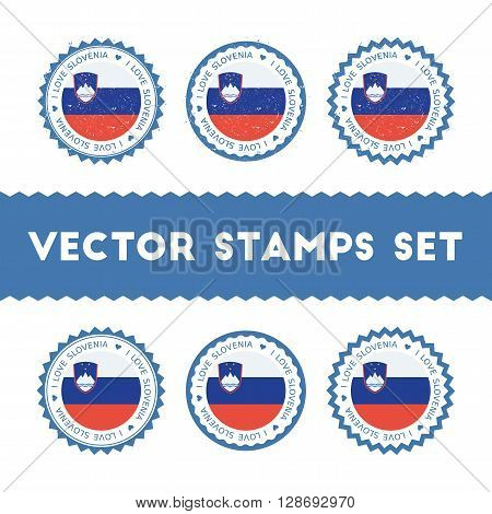 I Love Slovenia Vector Stamps Set. Retro Patriotic Country Flag Badges. National Flags Vintage Round