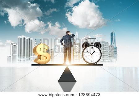 Business concept time is money. Businessman on scale making decisions between money and clock with New York city and sky in the background