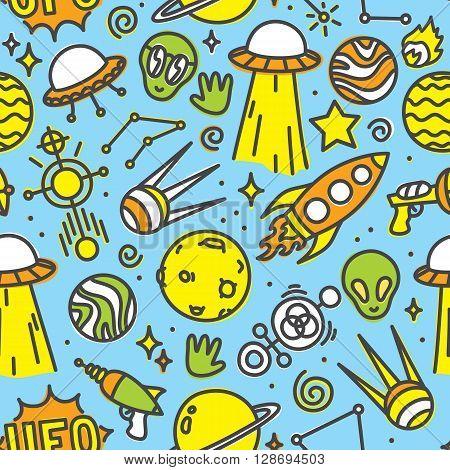 Cartoon space ufo aliens seamless vector pattern