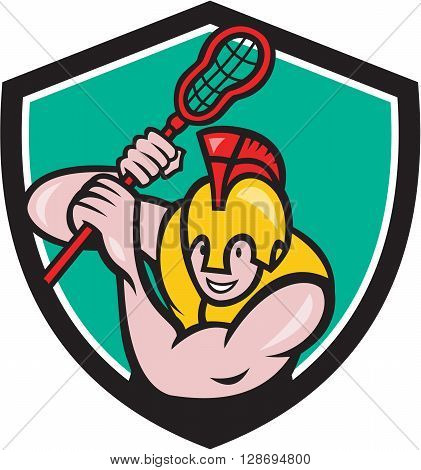 Illustration of a gladiator lacrosse player wearing spartan helmet holding lacrosse stick viewed from front set inside shield crest done in cartoon style.