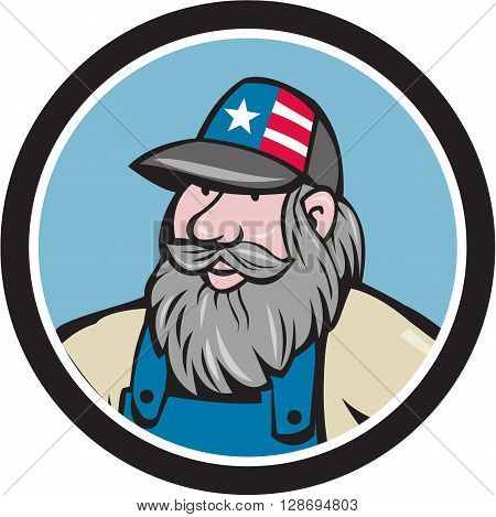 Illustration of a head of hillbilly man with beard wearing hat with stars and stripes looking to the side viewed from front set inside circle done in cartoon style.