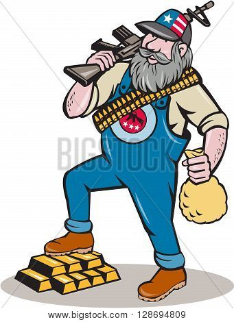 Illustration of a hillbilly man with beard wearing hat with stars and stripes and ammunition worn across the body holding rifle on shoulder and money bag on the other hand stepping on gold bars done set on isolated white background done in cartoon style.