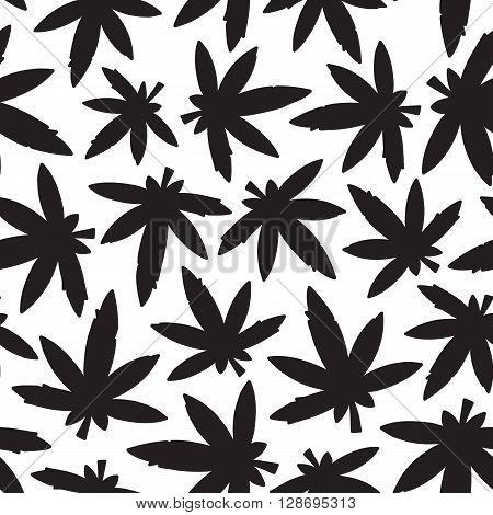 Marijuana ganja weed rasta seamless vector pattern