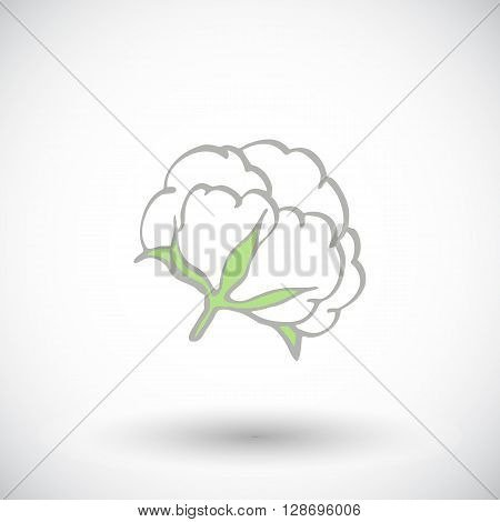 Cotton flower. Hand-drawn organic cotton icon. Doodle drawing. Vector illustration