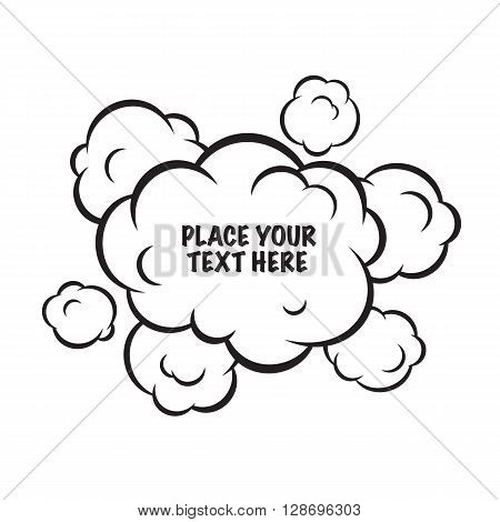 Cartoon pop art clouds isolated vector background on white