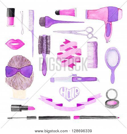 Beauty items. Hand drawn set of different hair styling and make up tools and ribbons - brush, lipstick, blow dryer, hair, lips, scissors, pin, mascara. Real watercolor drawing