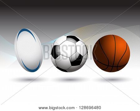 Rugby Basketball and Football Soccer3D Background with Coloured Waves Over Black and White