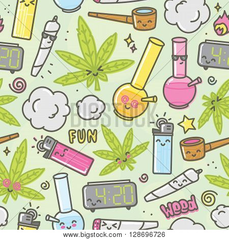 Marijuana kawaii cartoon funny seamless vector pattern