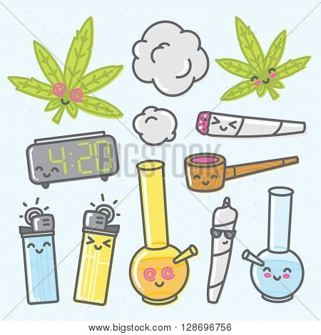 Marijuana kawaii funny cartoon vector objects set