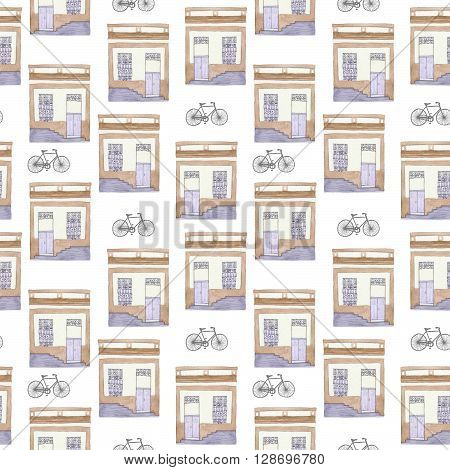 Old house and bycicle. Seamless pattern with hand drawn building and bike. Real watercolor drawing.