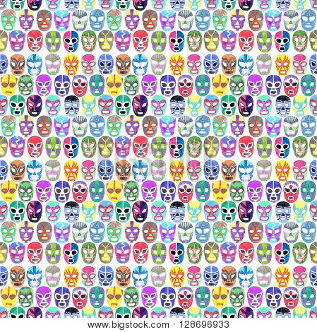Luchador or fighter mask set. Seamless pattern with hand-drawn lucha libre - free fight - masks - colorful helmets on the white background. Real watercolor drawing.