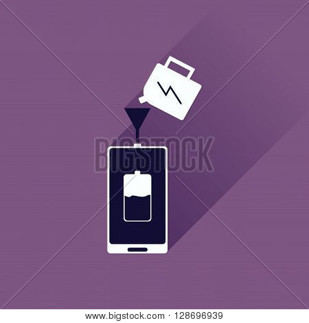 Flat icon with long shadow  Charging mobile phone