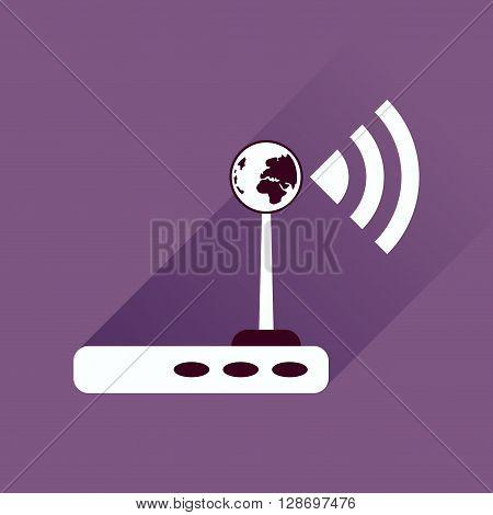 Flat icon with long shadow  Wi fi modem