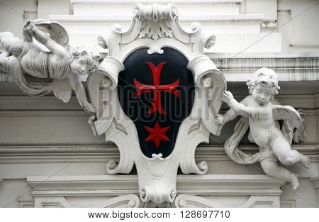 VIENNA, AUSTRIA - OCTOBER 10: Angels, detail from the house of the Knights of the Cross with the Red Star on October 10, 2014 in Vienna. The Knights ware a religious order from Bohemia